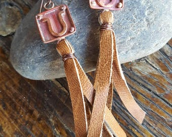 COPPER Horseshoe Earrings - Leather Fringe - Cowgirl Earrings - Rustic Jewelry - Western - Heart of a Cowgirl Jewelry - Boho - Horse Jewelry