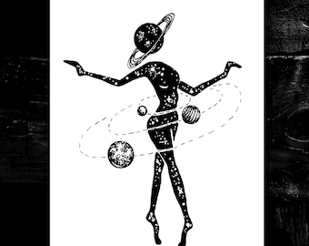 Cosmic Dancer A4 print - wall decor - space art - trippy art - gift