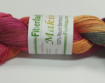 Hand painted Makimo Bamboo yarn, 4 oz, Fiesta