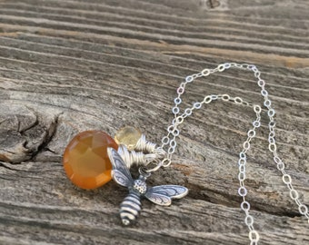 Honey bee necklace, Chalcedony wire wrapped pendant, citrine, yellow, summer jewelry, nature, bee lover, gemstone sterling silver necklace