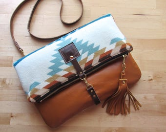 Southwestern Wool and leather bag, Large Leather foldover clutch, leather bag, wool fabric and leather clutch, leather wrist strap, boho