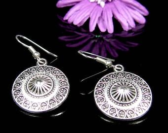 Bohemian earrings, nickel free earrings, surgical stainless steel earrings, round silver earrings, boho chic jewelry, silver earrings dangle