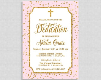 Pink Dedication Invitation, Pink & Gold Glitter Confetti Christian Dedication Invite, Baby Girl Dedication, DIY PRINTABLE