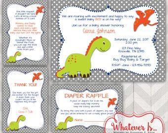 Dinosaur Baby Shower Invitation Bundle