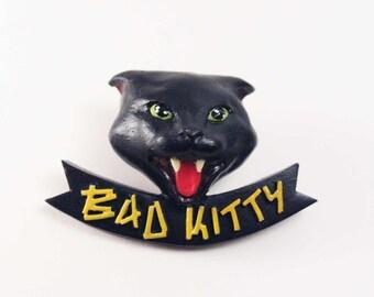 Bad kitty chat noir pin's