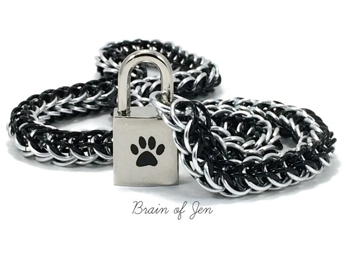 Unisex BDSM Slave Collar Black Paw Print Locking Chainmail Choker Pup Kitten Sub