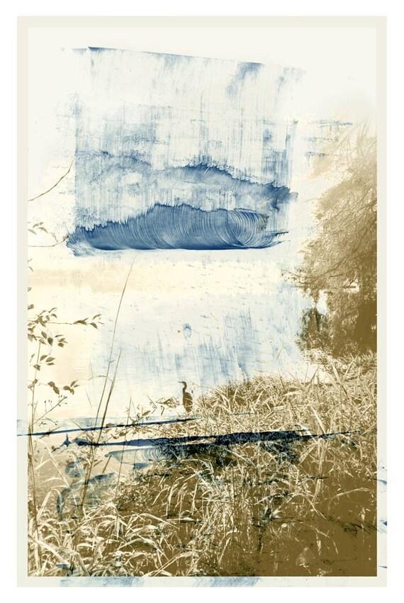 The Wave, contemporary print, indigo, heron, calming art, serene art, nature print, waterscape, archival print, peaceful,wall art