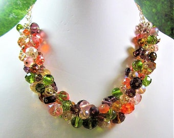 Shades of Autumn Multi-Color Crystal Necklace Set - Party, Choker, Bib, Necklace,  SRAJD,  OOAK