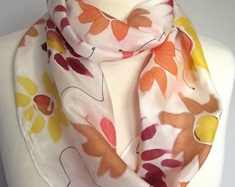 """Hand Painted Silk Infinity Scarf, 9x60"""", Sunflowers in Yellow, Orange, Coral and Caramel with Black Lines"""