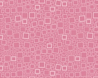 By The HALF YARD - Poppy Panache by Ann Lauer of Grizzly Gulch for Benartex,#625 Squares & Dots - Light Pink, White Geometric Shapes on Pink