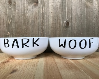 Bark Woof Ceramic Dog Bowl Set l Rae Dunn Inspired Dog Bowl   Personalized Dog Bowl   Custom Dog Bowls   Modern Dog Bowl   Dog Bowls