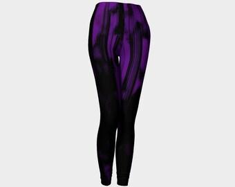 Purple yoga leggings, large waistband leggings, paint splatter yoga pants, by Felicianation Ink
