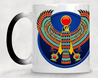 "Horus falcon / egyptian falcon / falcon god / Horus falcon god - ""Heka"" magic mug / Colour changing mug / egypt mug"