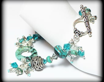 Gypsy Soul... Handmade Jewelry Bracelet Beaded Cha Cha Turquoise Gemstone Crystal Glass Bali Silver Black Dangle Asymmetrical Earthy Boho