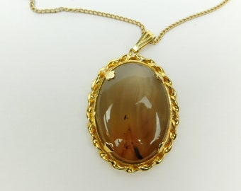 Agate Stone Necklace Gold Tone