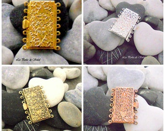 Beautiful clasp enclosure rectangular 7 rows MULTISTRAND gold silver bronze copper 26 x 36