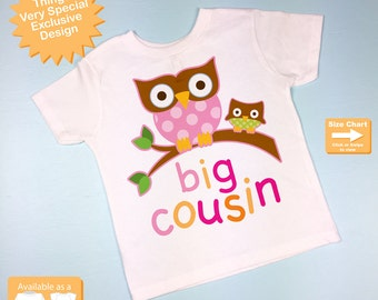 Girl's Big Cousin Shirt with owls, Toddler Big Cousin Shirt (04022012a)