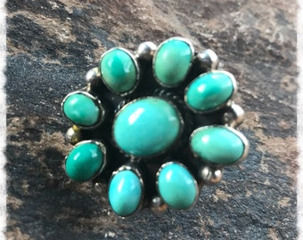 SALE-Classic Vintage Authentic Navajo Southwest Sterling Silver Turquoise Cluster Ring ~Size 9 1/4- Very Very Old