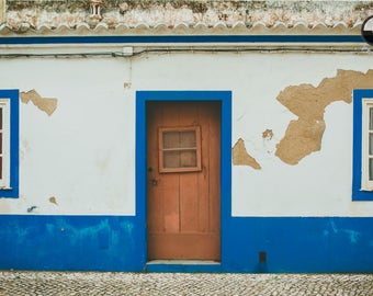 Old blue and white house, Vintage look, Lagos Portugal , Algarve, Fine art print