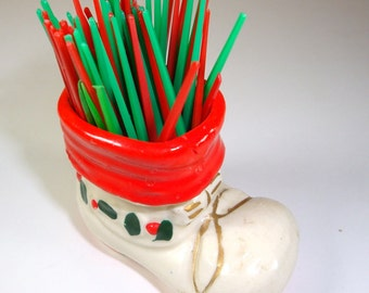 Vintage Christmas Ceramic Toothpick Holder, Christmas Boot, Mid Century Kitchen Holiday Decor, Made In Japan  (262-12)