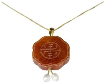 Lovely Vintage Chinese Red Jade carved pendant with two Pearl drops