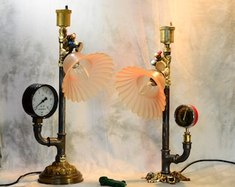 SOLD- Two (2) Steampunk lamps, steampunk light, industrial lamp, industrieel