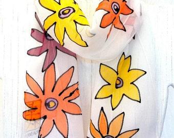 Handpainted Silk Scarf, Handmade Scarf, Silk Scarves Takuyo, Summer of Love, MOD Yellow Daisy Scarf, Takuyo, Made to order, 8x54 inches