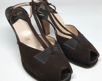 sz 7B | Vintage 40's Brown Strappy Suede Platform Peeptoe Heels with Bow and Rhinestone Details by Palter DeLiso
