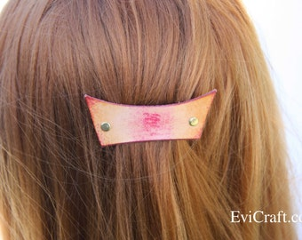 Handmade Leather French hair barrette, Rainbow Leather Hair clip, women Accessory, hair fashion, orange leather accessory