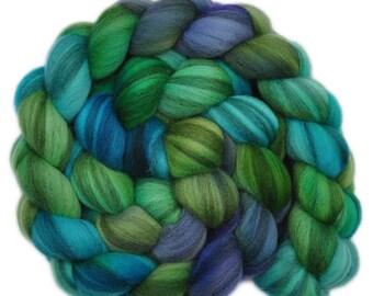 Hand dyed roving - Merino Humbug wool combed top spinning fiber - 3.9 ounces - Porthole 2