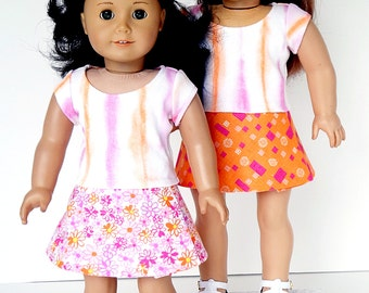 18 Inch Doll Clothes -- Tee Shirt & Reversible Wrap Skirt -- 2 Piece Outfit (5-01)