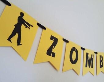 halloween banner - halloween party - halloween decorations - zombie favors - halloween garland - haloween - zombie party - zombie decor