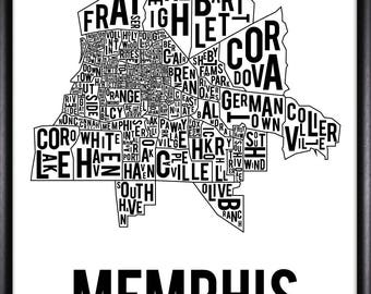 Memphis Tennessee Neighborhood Map - FREE SHIPPING
