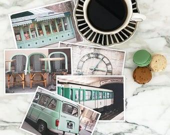 Paris Postcard Set, Green Travel Postcards 4x6 Art Print, Apartment Decor, Paris Prints, College Student Gift for Her Stocking Stuffer