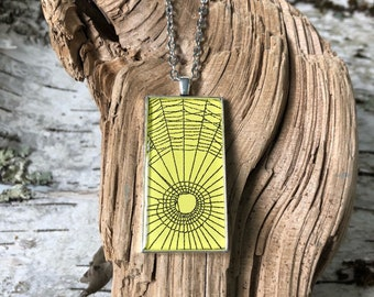 Spider Web Necklace, Spider Web Pendant, Antique Silver Pendant, Gothic Necklace,  Halloween Pendant, Real Preserved Spider Web,  Yellow