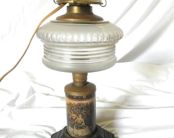 Antique Gothic 1870s Lamp Transfer Ware Lighting Federal period Electrified Glass Font Historical Fashion Gothic Decor Jackpot Jen vintage