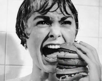 Psycho Shower Eating Art Print