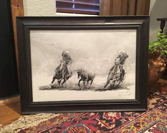 Framed print on canvas transfer