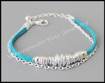BOHO Suede Chain Bracelet - Genuine Suede Cord Silver Chain and Links Bohemian Adjustable Stacking Bracelet - Pick COLOR / SIZE - Usa - 239