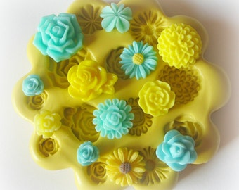 Silicone Flower Mold, Tiny Flowers, DIY Earrings, Resin Flower Mold, Fondant, Polymer Clay, Chocolate Mould, Silicone Molds, Cabochon Mold