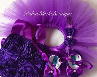 Purple Rosette Tutu/Shoes Set