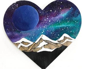 Original Wood Plaque Universe Heart