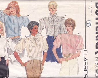Misses Set Of Blouse Patterns ~ Butterick 6374 Size 12 ~ Concealed Button Closure ~ Front Tucks ~ Pleated Neckband & Ties ~ Cut But Complete