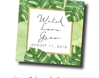 Modern botanical wedding sticker, Monstera wedding stickers, botanical wedding favor, tropical wedding sticker, destination wedding favor