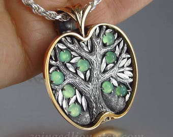 APPLE TREE silver and bronze pendant with Chrysoprase - Tree of Life necklace