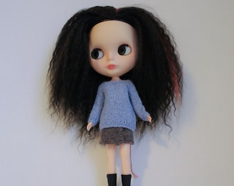 Blythe doll Mary Sweater knitting PATTERN - short or long sleeve pull over for Neo - instant download - permission to sell finished items