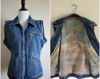 Vintage Denim Cowgirl Vest | Women's Medium/Large