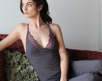 lace trimmed camisole in viscose of bamboo - ICON bamboo sleepwear and lingerie range - made to order