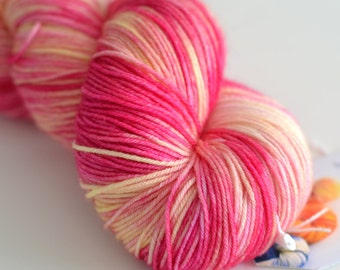 Snapdragon - Hand Dyed Yarn - Sock Yarn - Fingering Weight - Pink and Yellow - Flowers - Fingering Weight