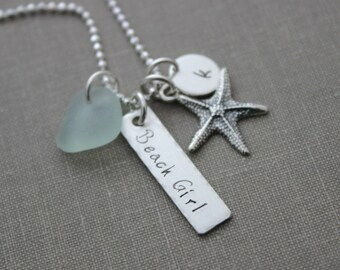 English Sea Glass Beach Girl Necklace, Personalized with Sterling Silver Starfish, Sea Glass and Initial Charm, Hand Stamped rectangle bar